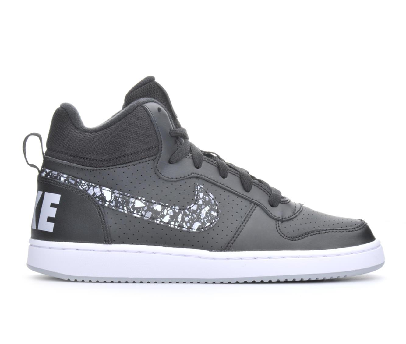Boys' Nike Court Borough Mid Print Sneakers (Black)