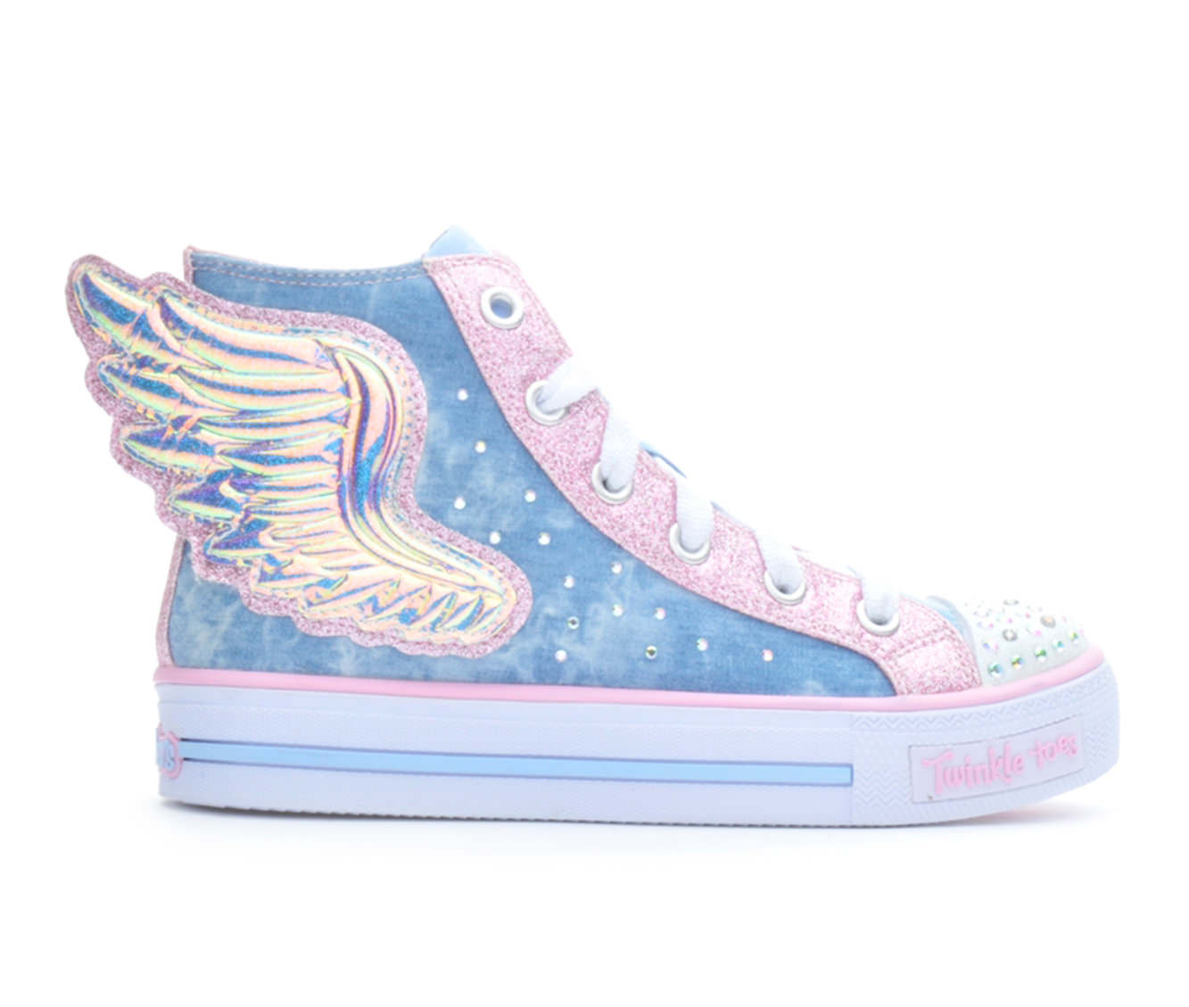 Girls' Skechers Shuffles Flutters Light-Up Sneakers (Blue)