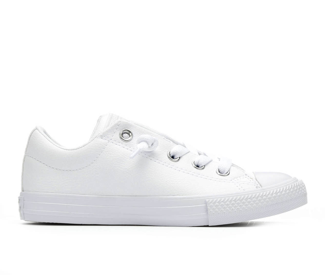 Girls' Converse CTAS Street Slip Leather Sneakers (White)