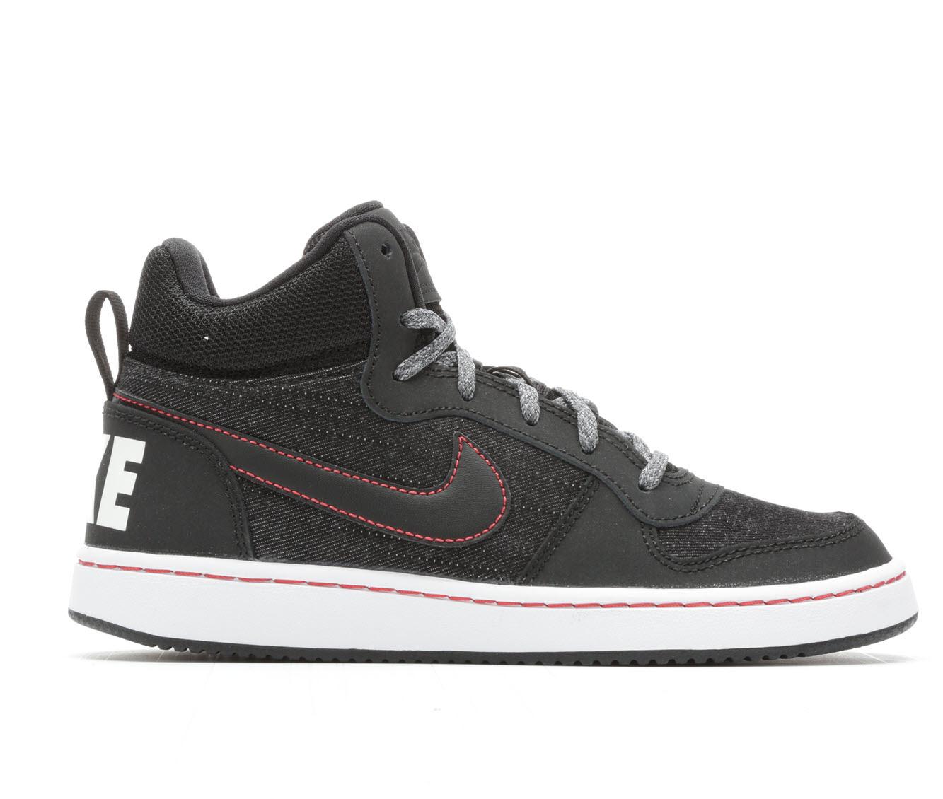 Boys' Nike Court Borough Mid SE Sneakers (Black)
