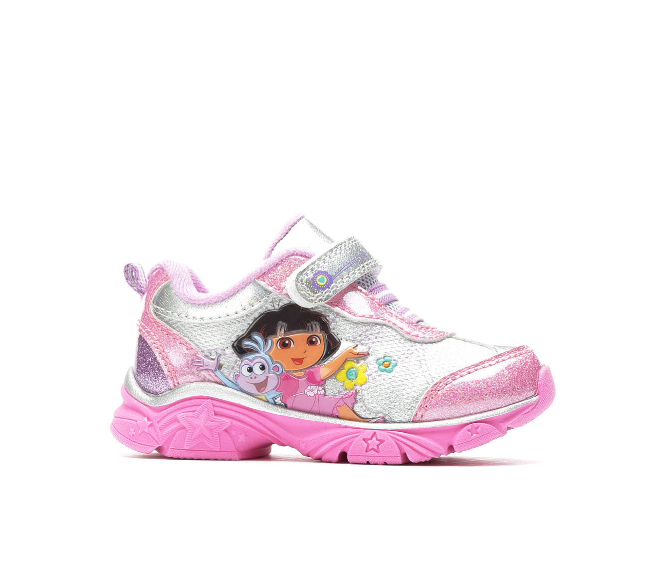 Girls' Nickelodeon Dora 4 Light-Up Sneakers (Silver)