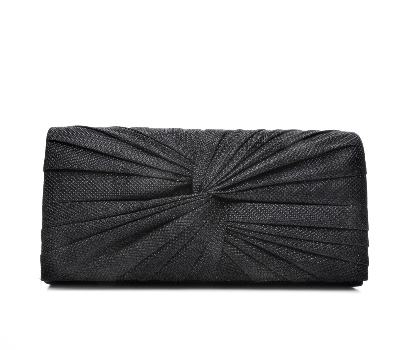 Four Seasons Handbags Large Metallic Evening Clutch (Black)