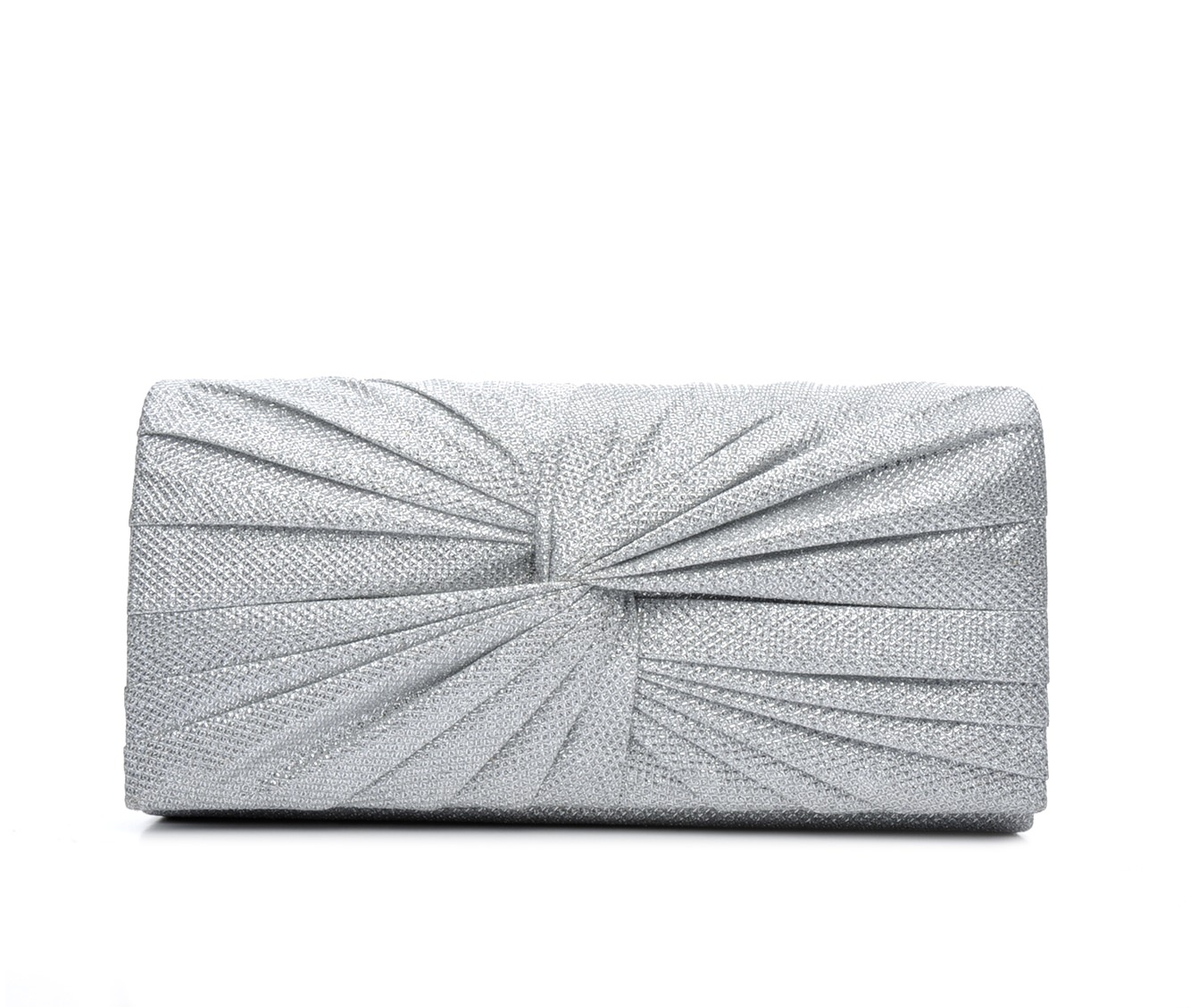 Four Seasons Handbags Large Metallic Evening Clutch (Silver)