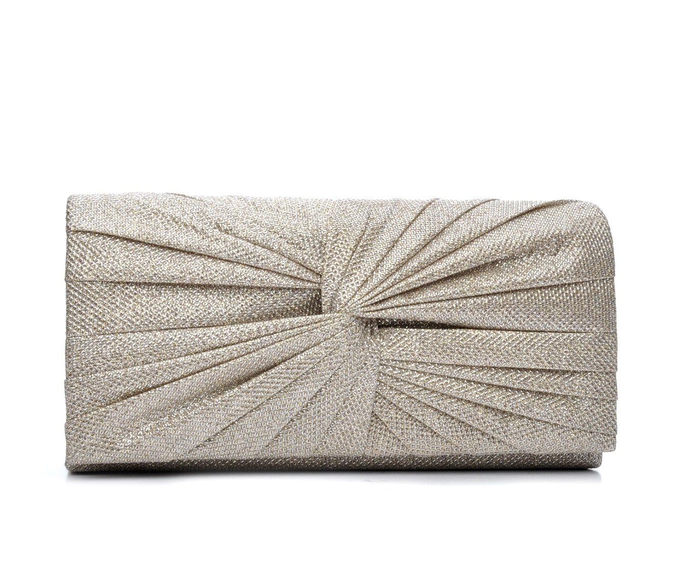 Four Seasons Handbags Large Metallic Evening Clutch (Beige)