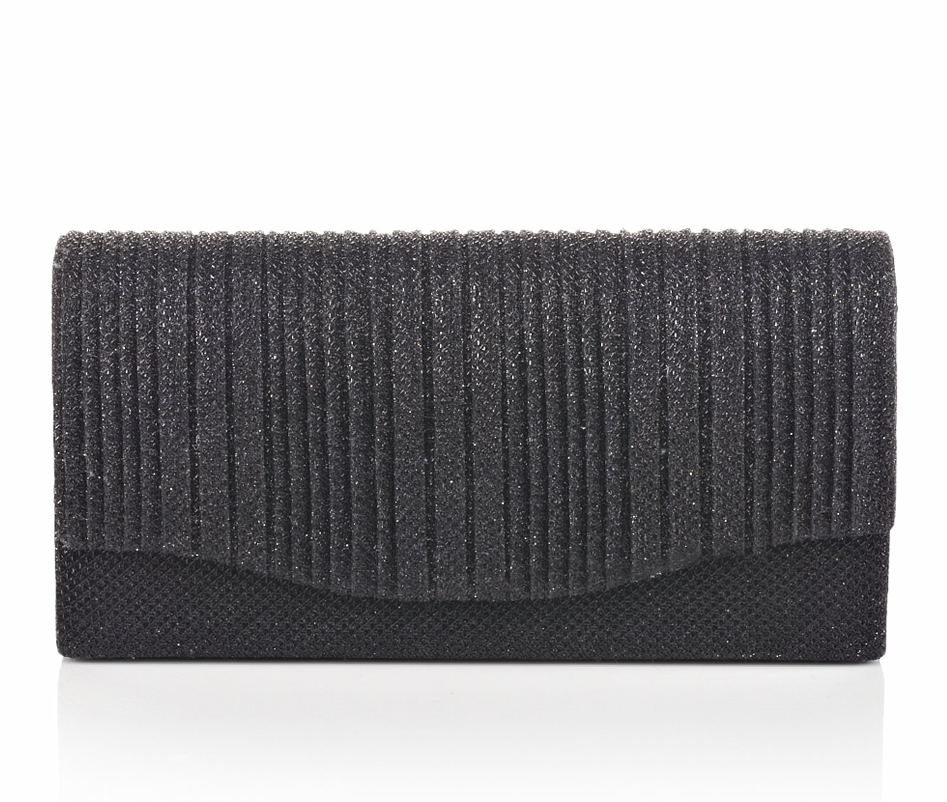 Four Seasons Handbags Small Vertical Stripe Evening Clutch (Black)