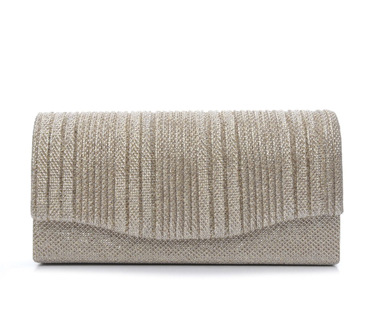 Four Seasons Handbags Small Vertical Stripe Evening Clutch (Beige)