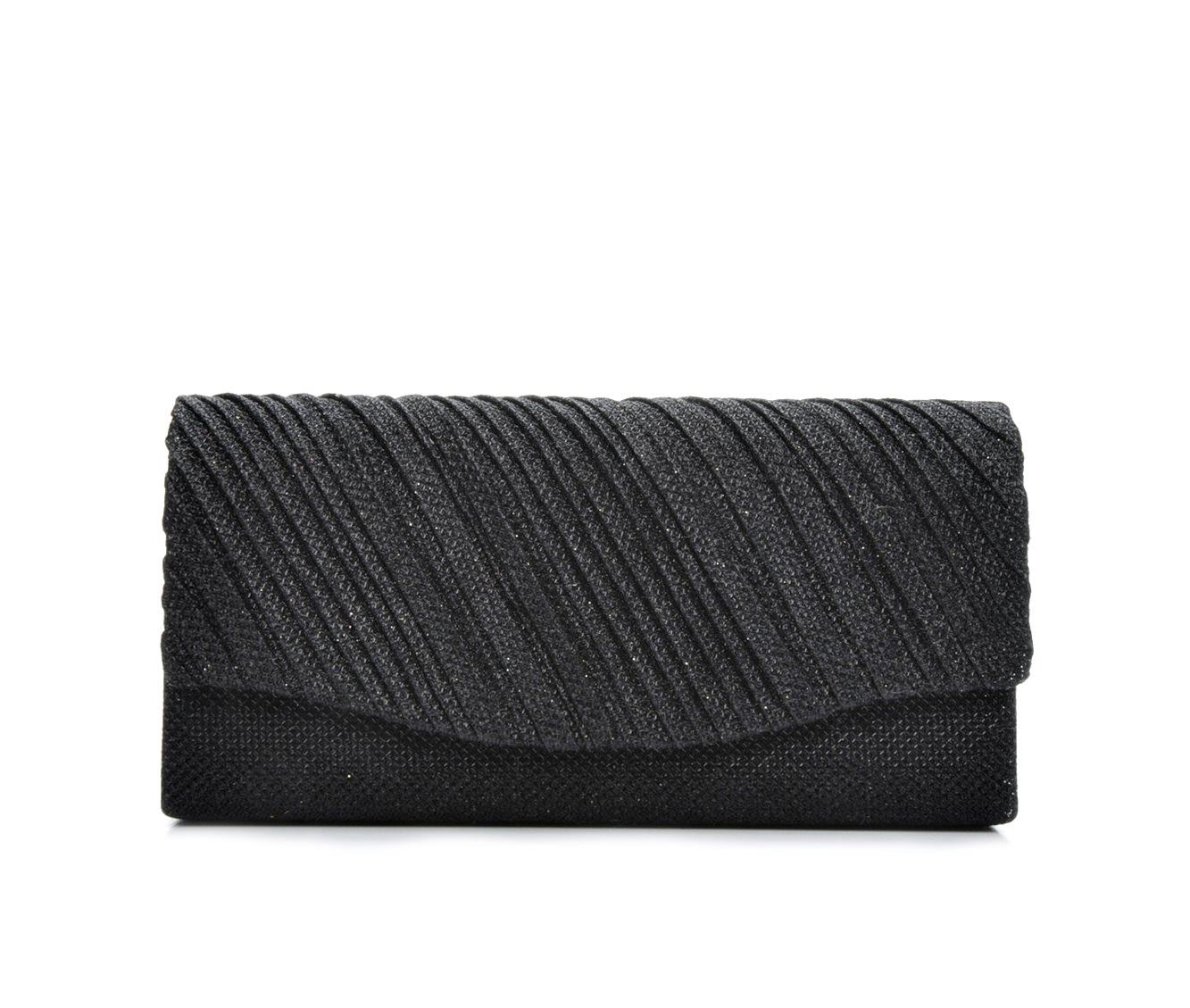 Four Seasons Handbags Small Diagonal Stripe Evening Clutch (Black)