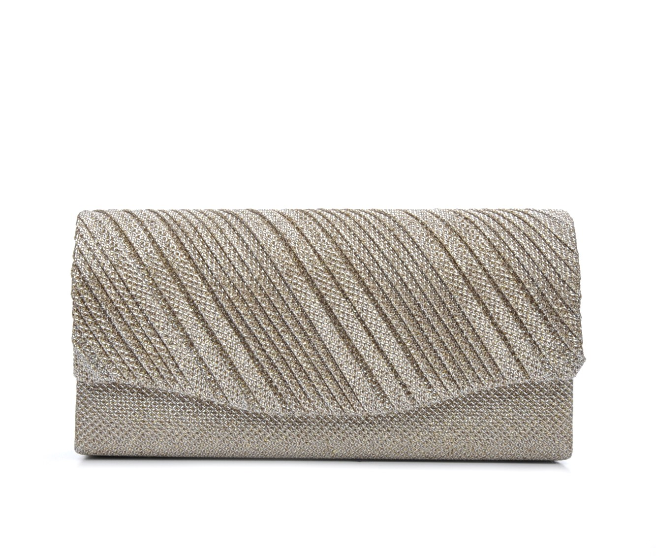 Four Seasons Handbags Small Diagonal Stripe Evening Clutch (Beige)