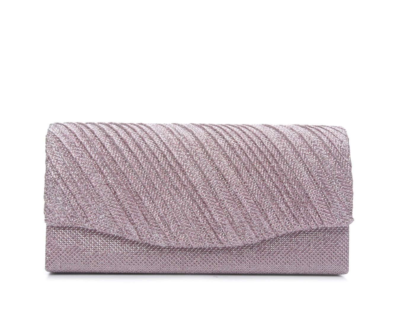 Four Seasons Handbags Small Diagonal Stripe Evening Clutch (Pink)