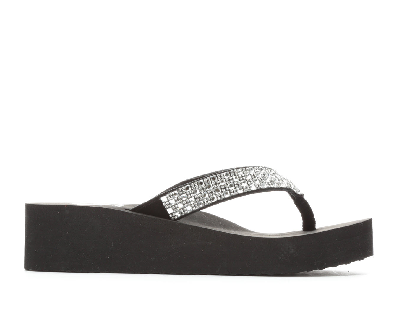 Women's Yellow Box Scalia Wedge Sandals (Black)