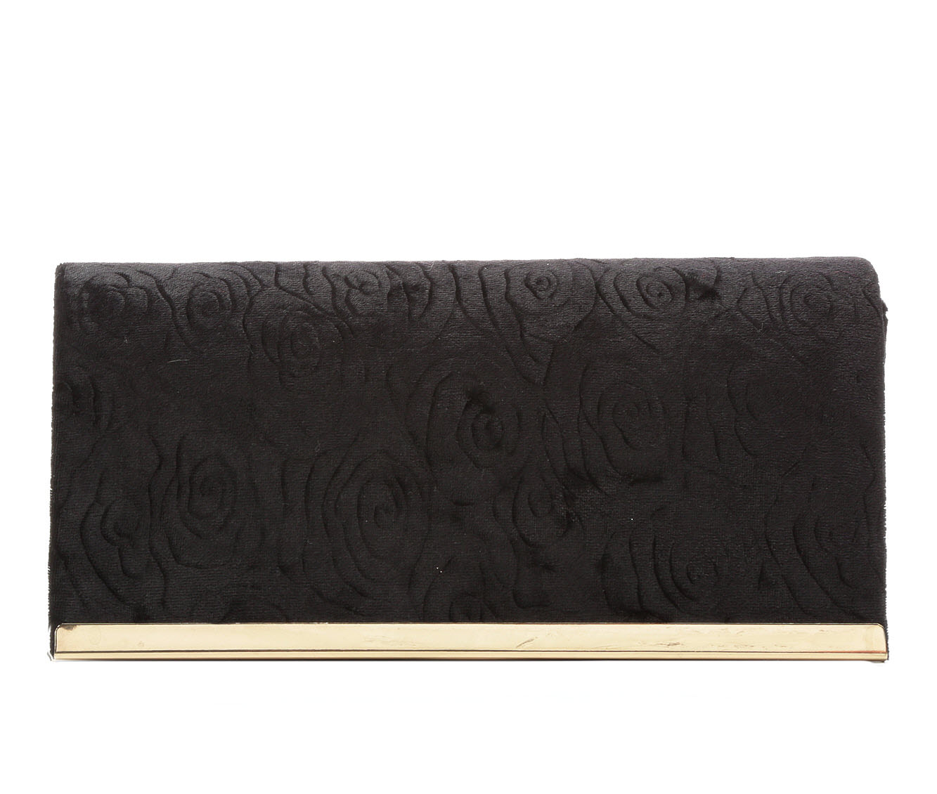Four Seasons Handbags Velvet Embossed Evening Clutch (Black)