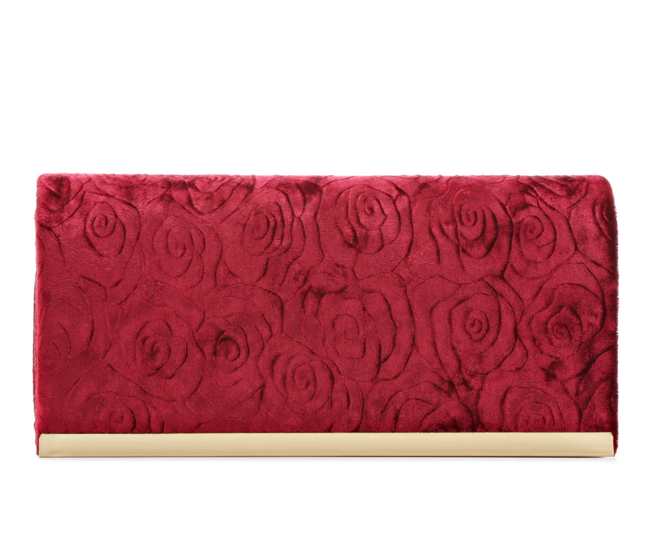 Four Seasons Handbags Velvet Embossed Evening Clutch (Red)