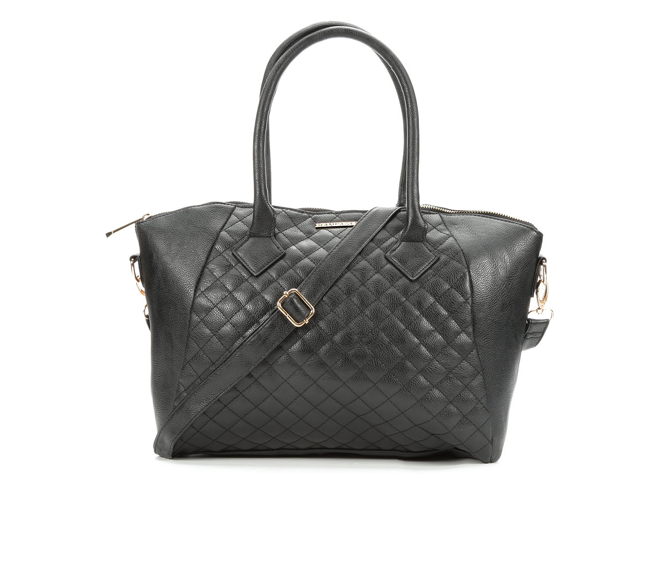 Rampage Quilted Satchel Crossbody (Black)