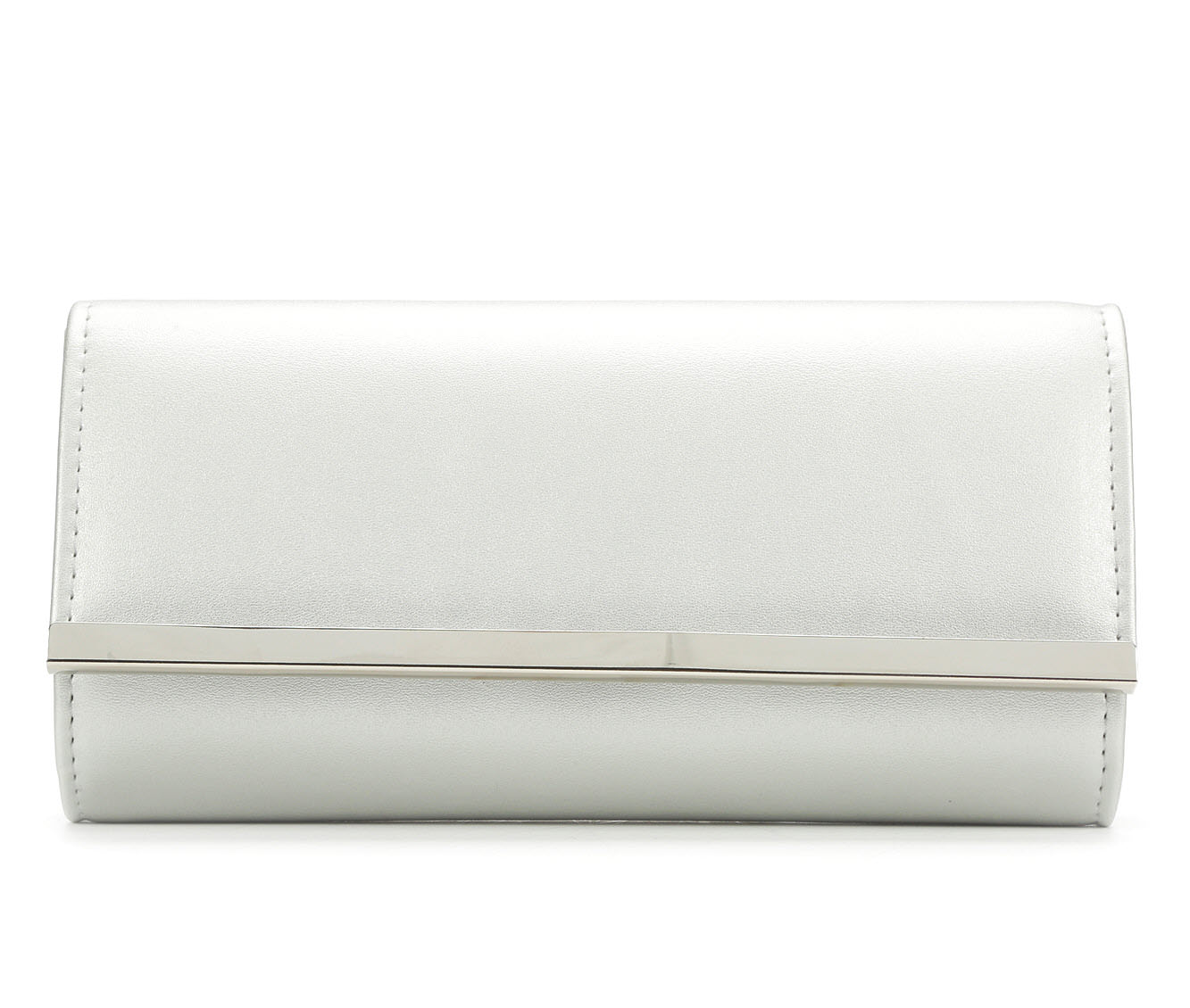 Four Seasons Handbags Faux Leather Evening Clutch (Silver)