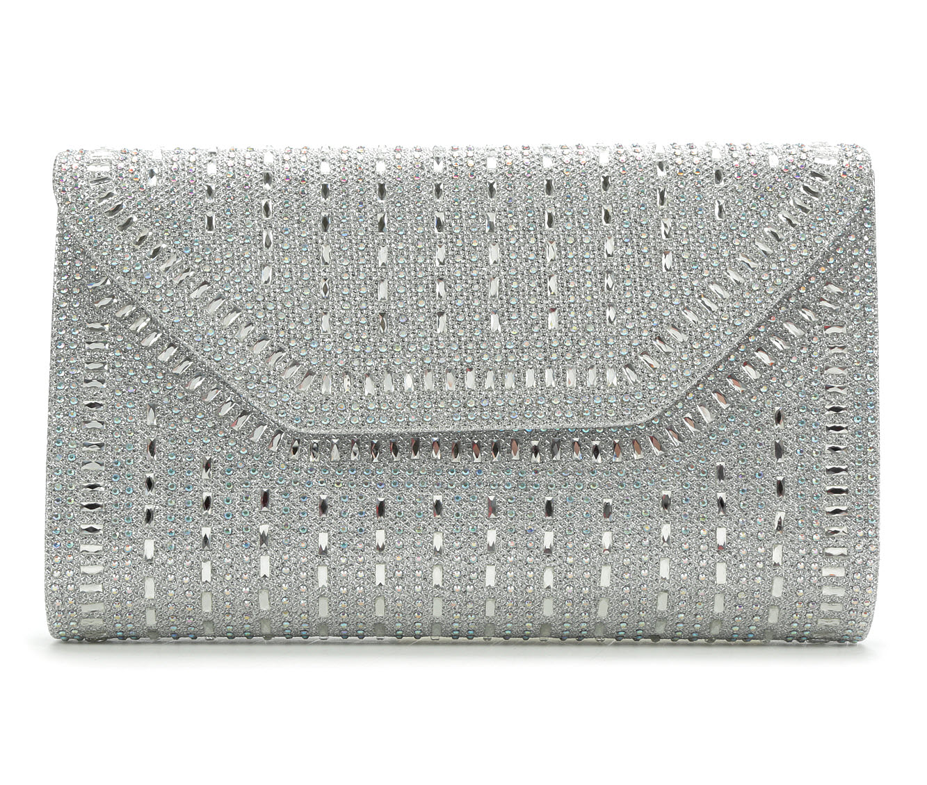 LLorraine Large Rock Candy Evening Clutch (Silver)