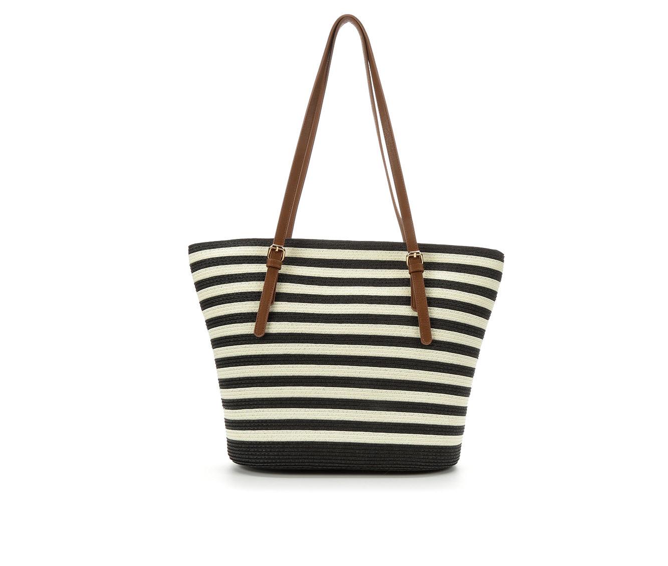 Bueno Of California Papered Straw Tote Handbag (Black)