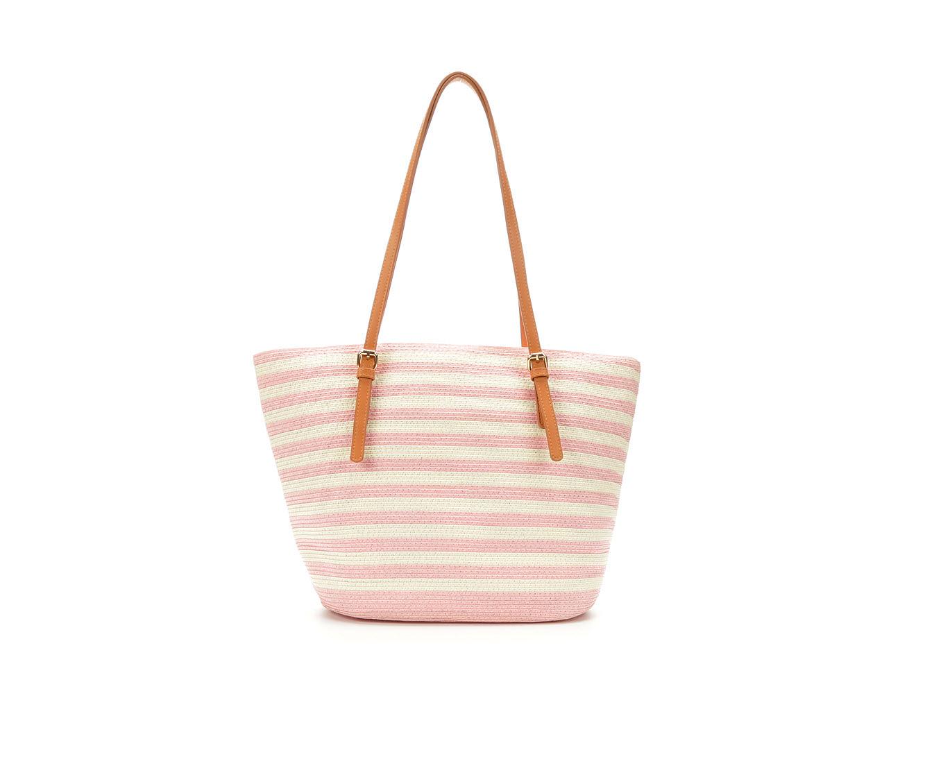 Bueno Of California Papered Straw Tote Handbag (Pink)