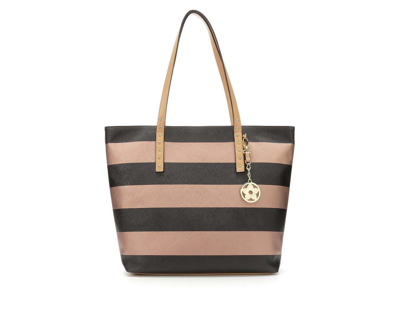 Bueno Of California Multi Striped Tote Handbag (Black)