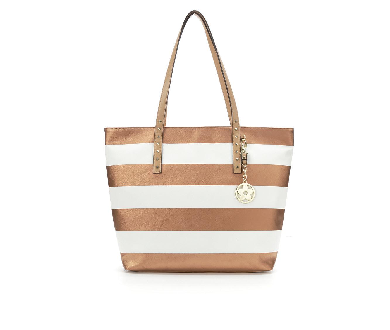 Bueno Of California Multi Striped Tote Handbag (Gold)
