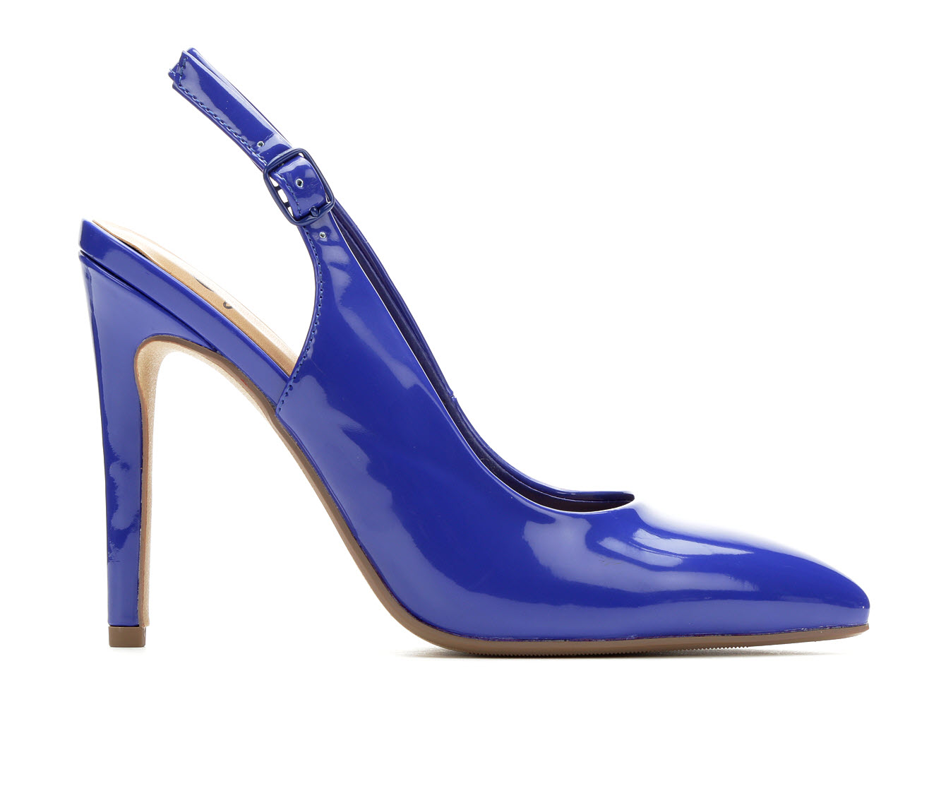 Delicious Carly Women's Dress Shoe (Blue Faux Leather)