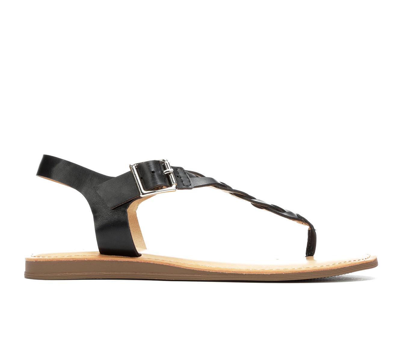 Solanz Actual Women's Sandal (Black Faux Leather)