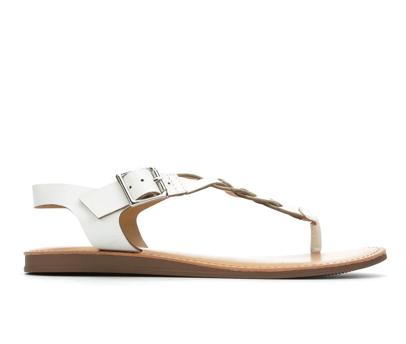 Solanz Actual Women's Sandal (White Faux Leather)