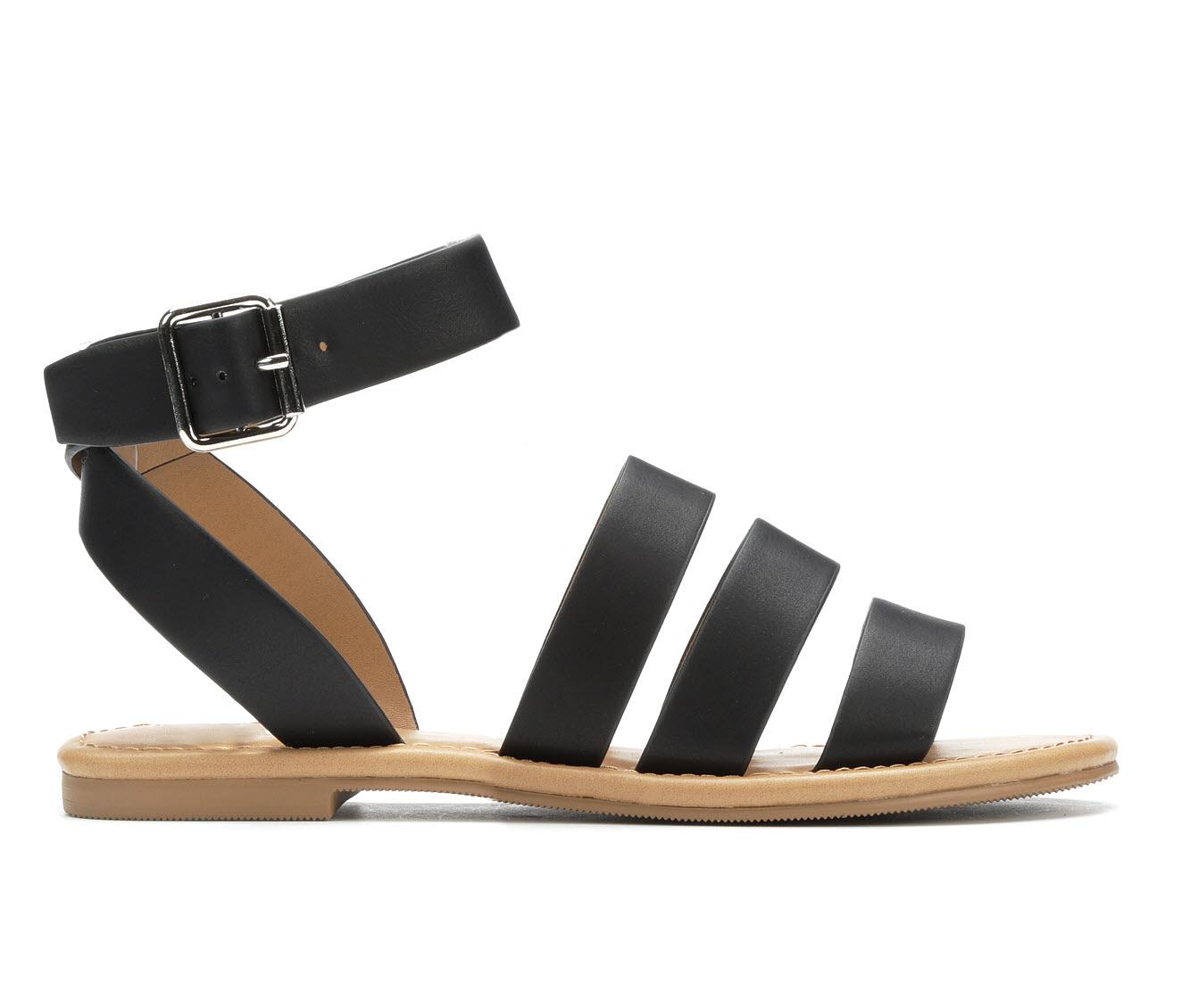 Y-Not Shell Women's Sandal (Black Faux Leather)