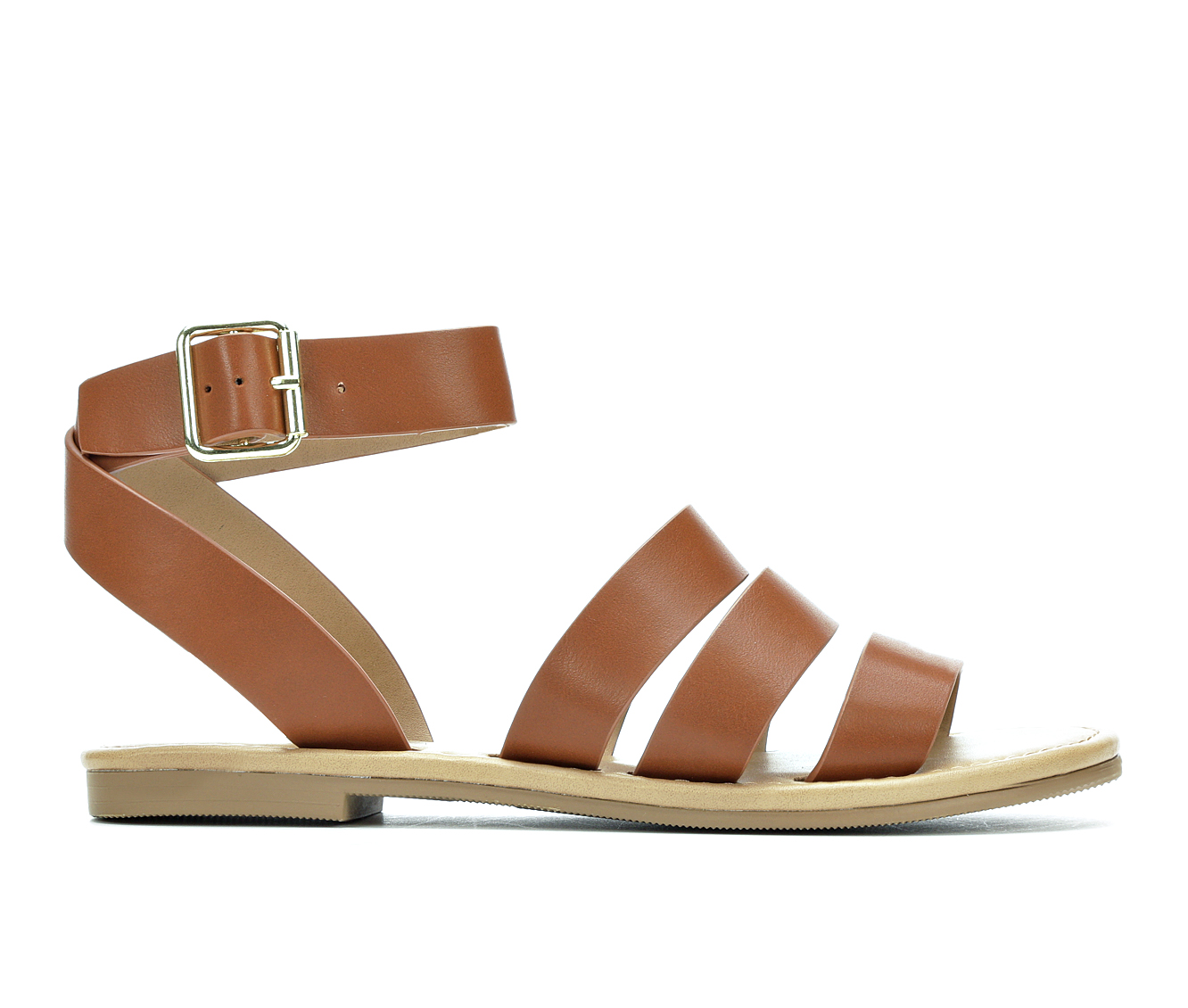 Y-Not Shell Women's Sandal (Brown Faux Leather)