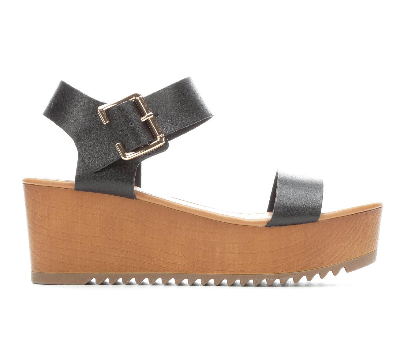 Y-Not Ayla Women's Sandal (Black Faux Leather)