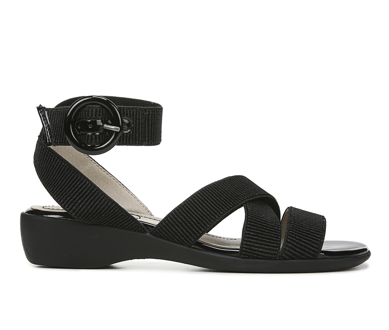 LifeStride Temple Women's Sandal (Black Faux Leather)