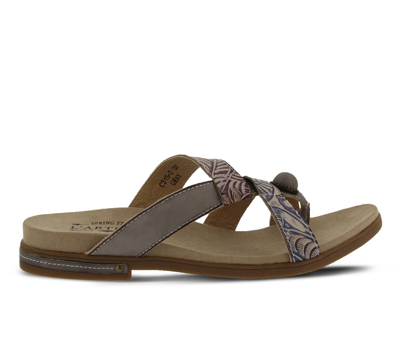 L'Artiste Pierce Women's Sandal (Gray Leather)
