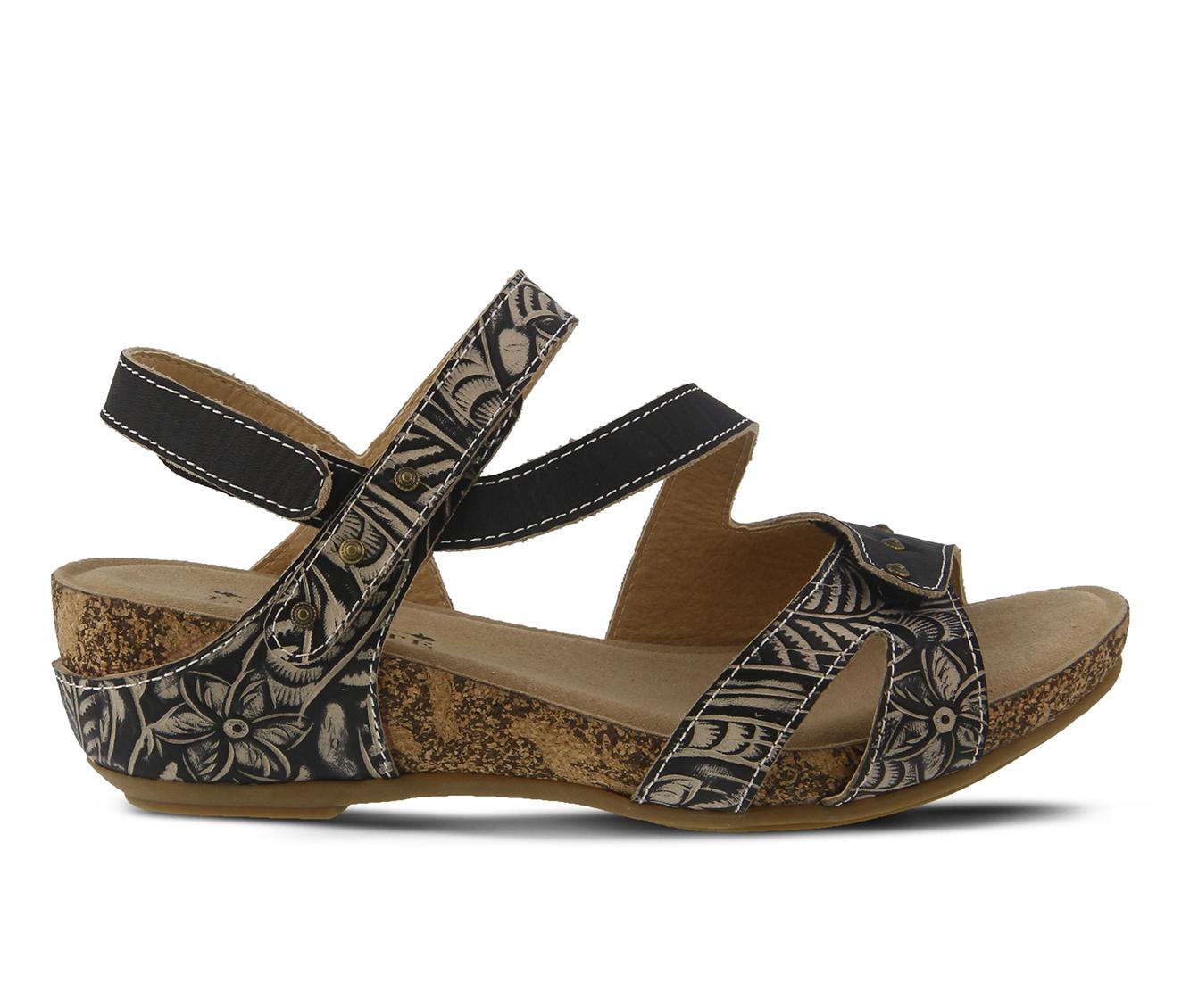 L'Artiste Quilana Women's Sandal (Black Leather)