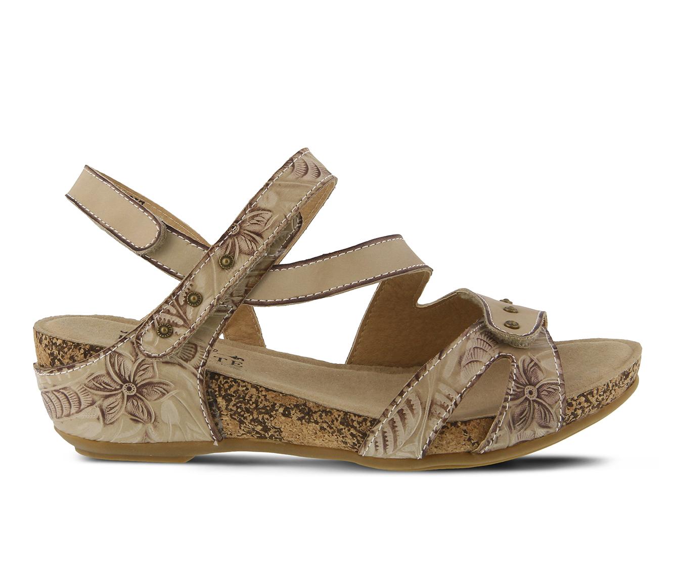 L'Artiste Quilana Women's Sandal (Beige Leather)