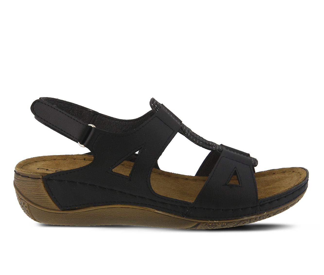 Flexus Naxos Women's Sandal (Black Faux Leather)