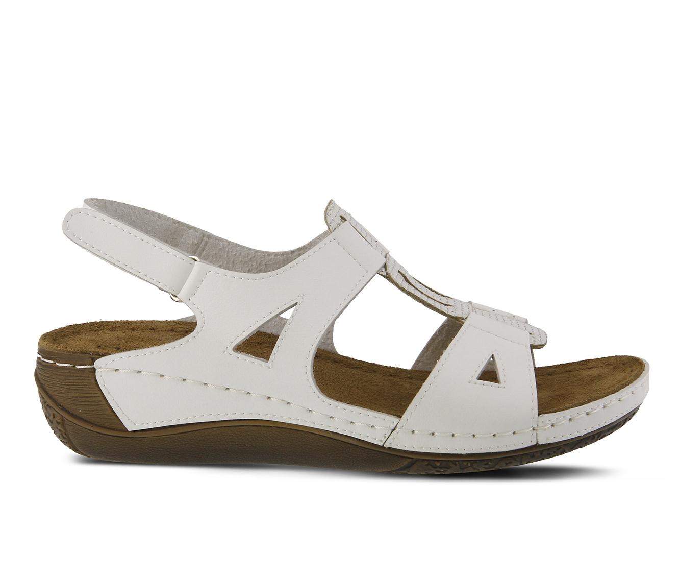 Flexus Naxos Women's Sandal (White Faux Leather)