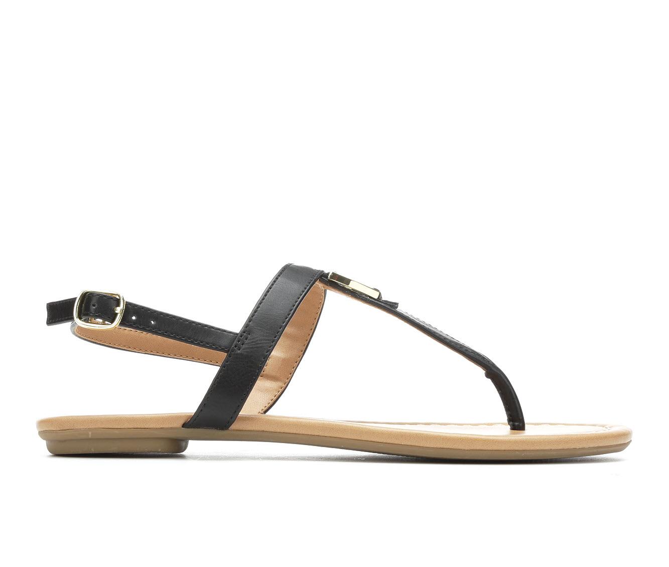 Solanz Gallant Women's Sandal (Black Faux Leather)