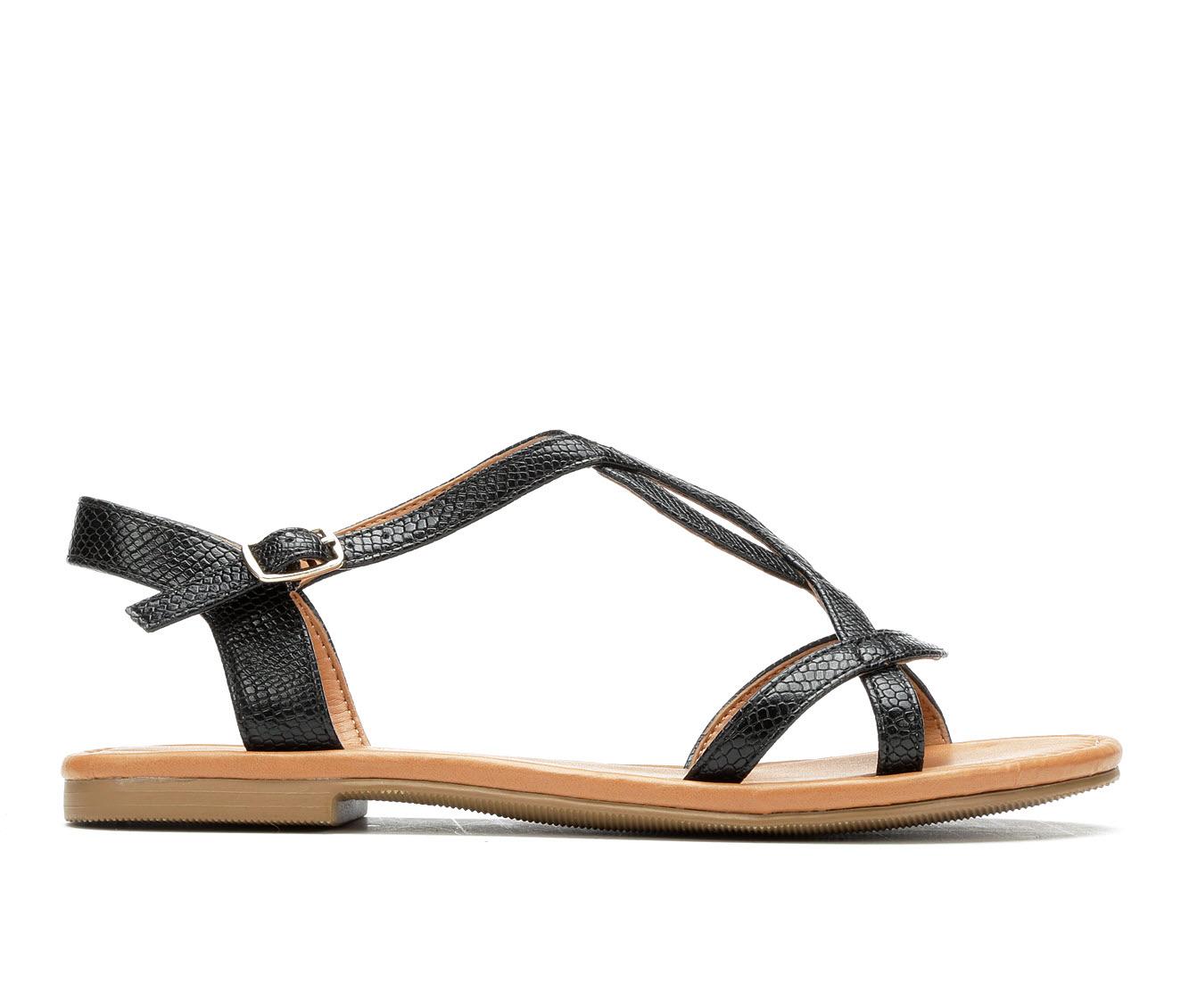 Solanz Agent Women's Sandal (Black Faux Leather)