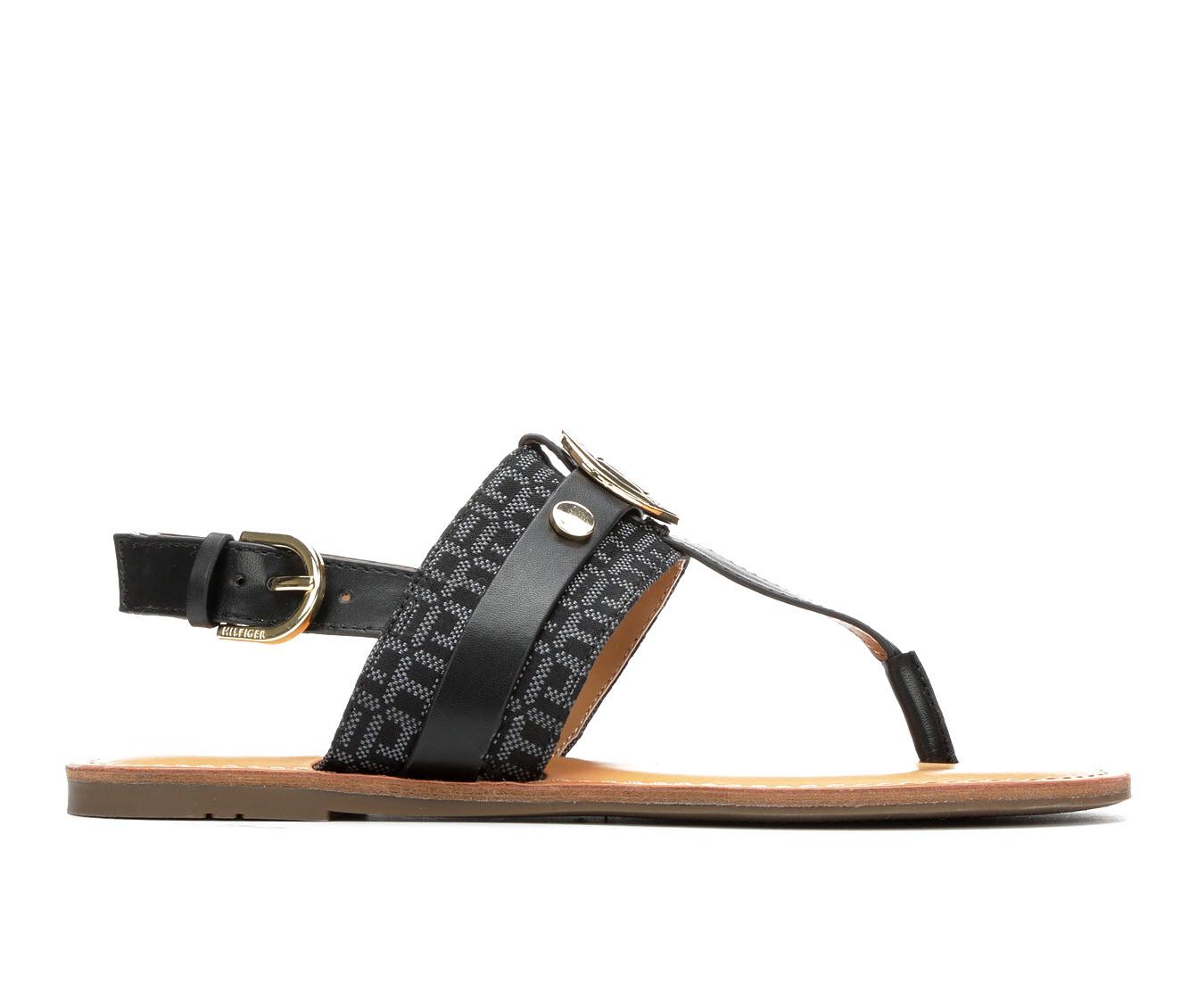 Tommy Hilfiger Lychee Women's Sandal (Black Faux Leather)