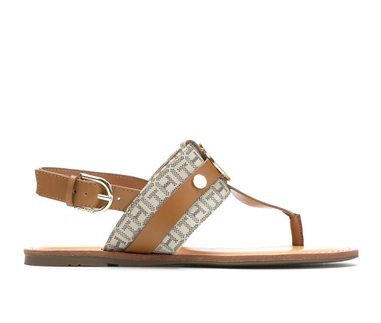 Tommy Hilfiger Lychee Women's Sandal (Beige Faux Leather)