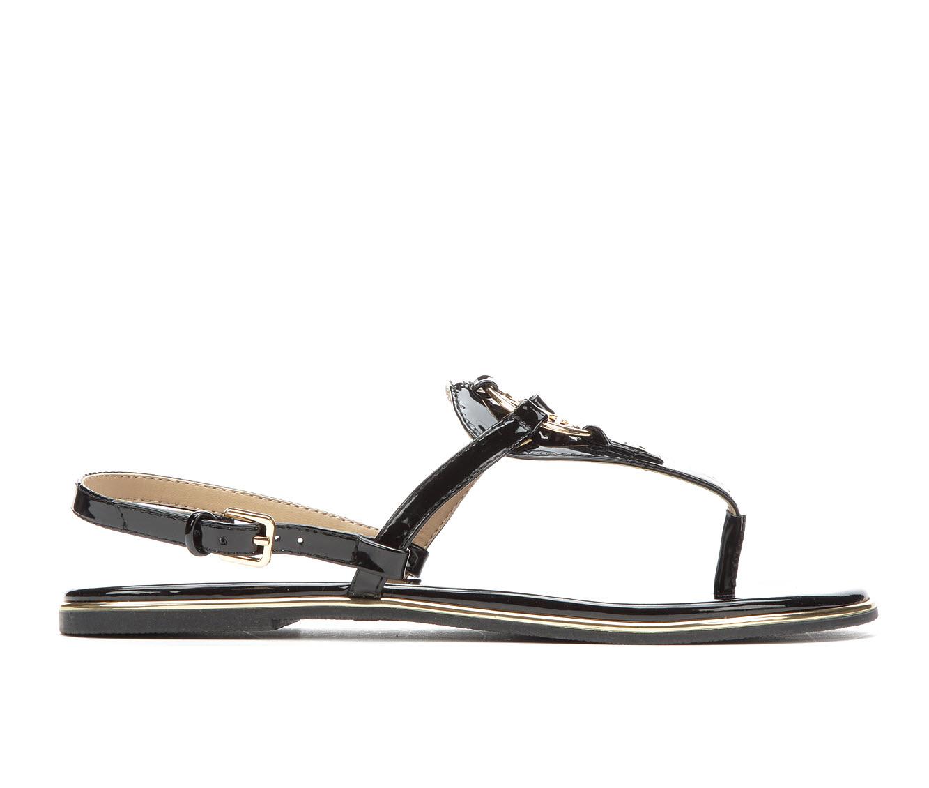 Bebe Sport Janney Women's Sandal (Black Faux Leather)