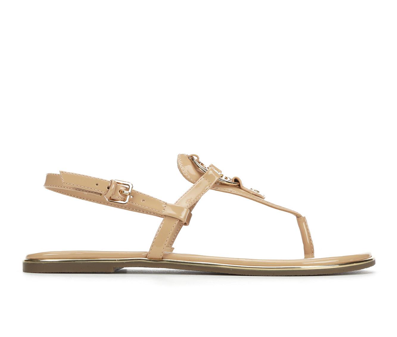 Bebe Sport Janney Women's Sandal (Beige Faux Leather)