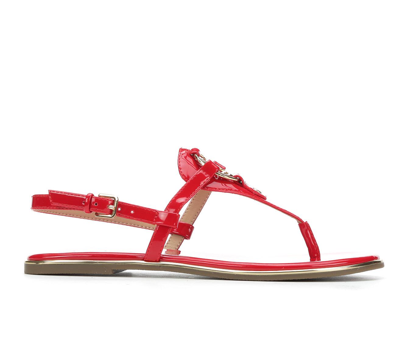 Bebe Sport Janney Women's Sandal (Red Faux Leather)