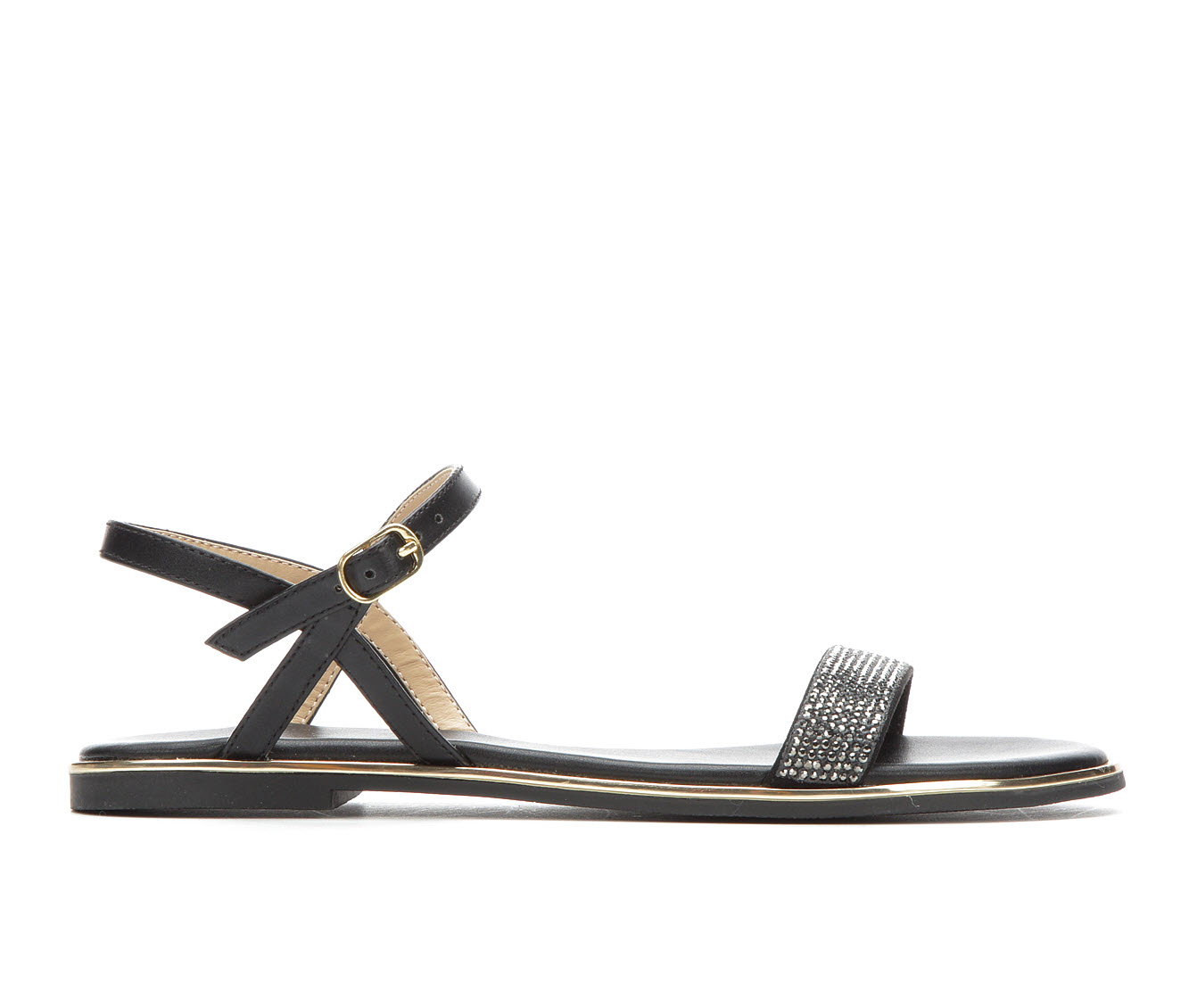 Bebe Sport Brilynn Women's Sandal (Black Faux Leather)