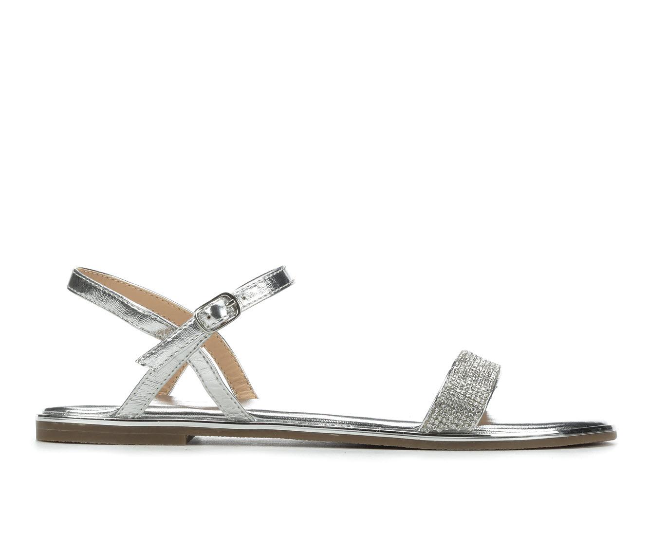 Bebe Sport Brilynn Women's Sandal (Silver Faux Leather)