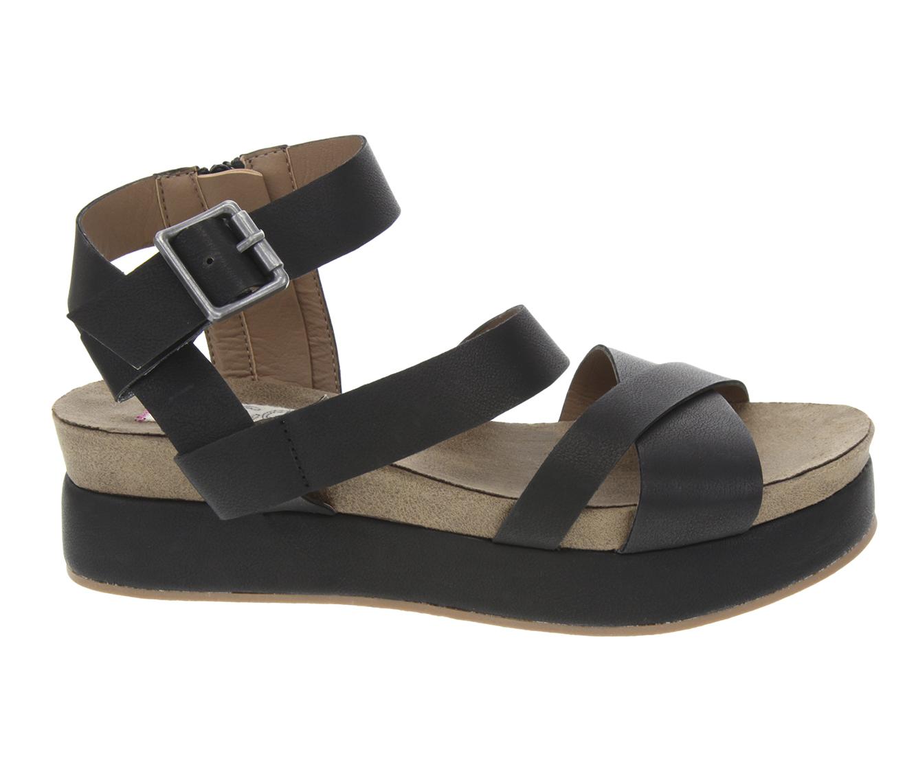 Sugar Milly Women's Sandal (Black Faux Leather)