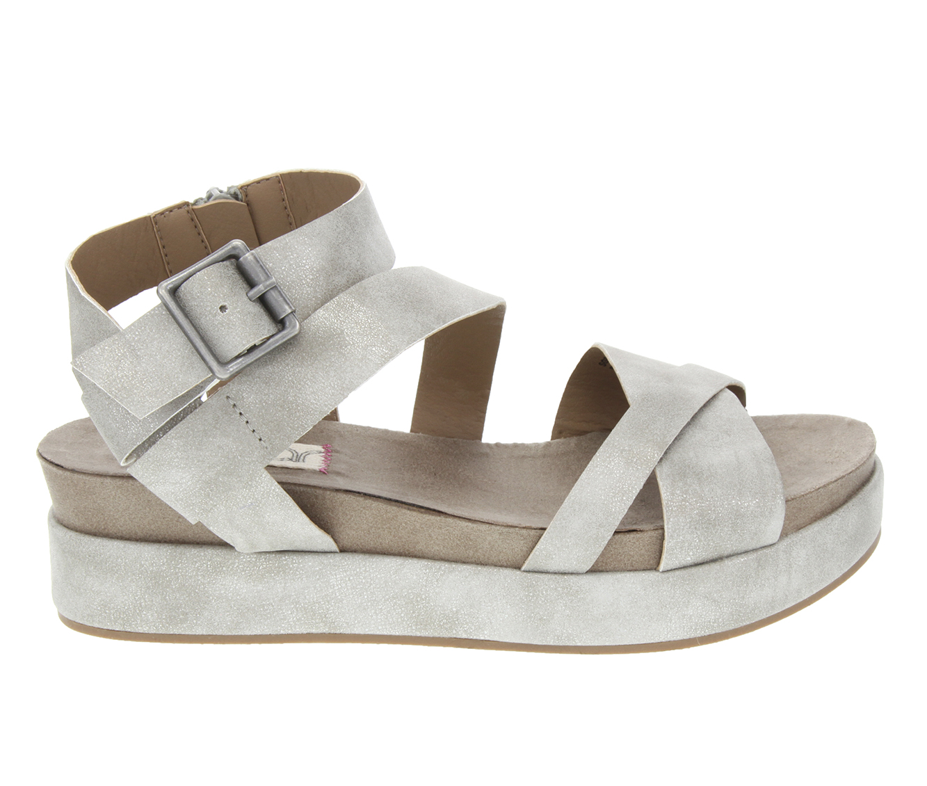 Sugar Milly Women's Sandal (Gray Faux Leather)