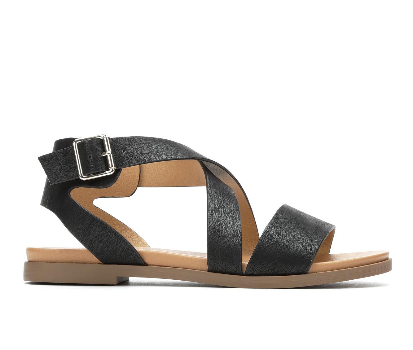 Solanz Spend Women's Sandal (Black Faux Leather)