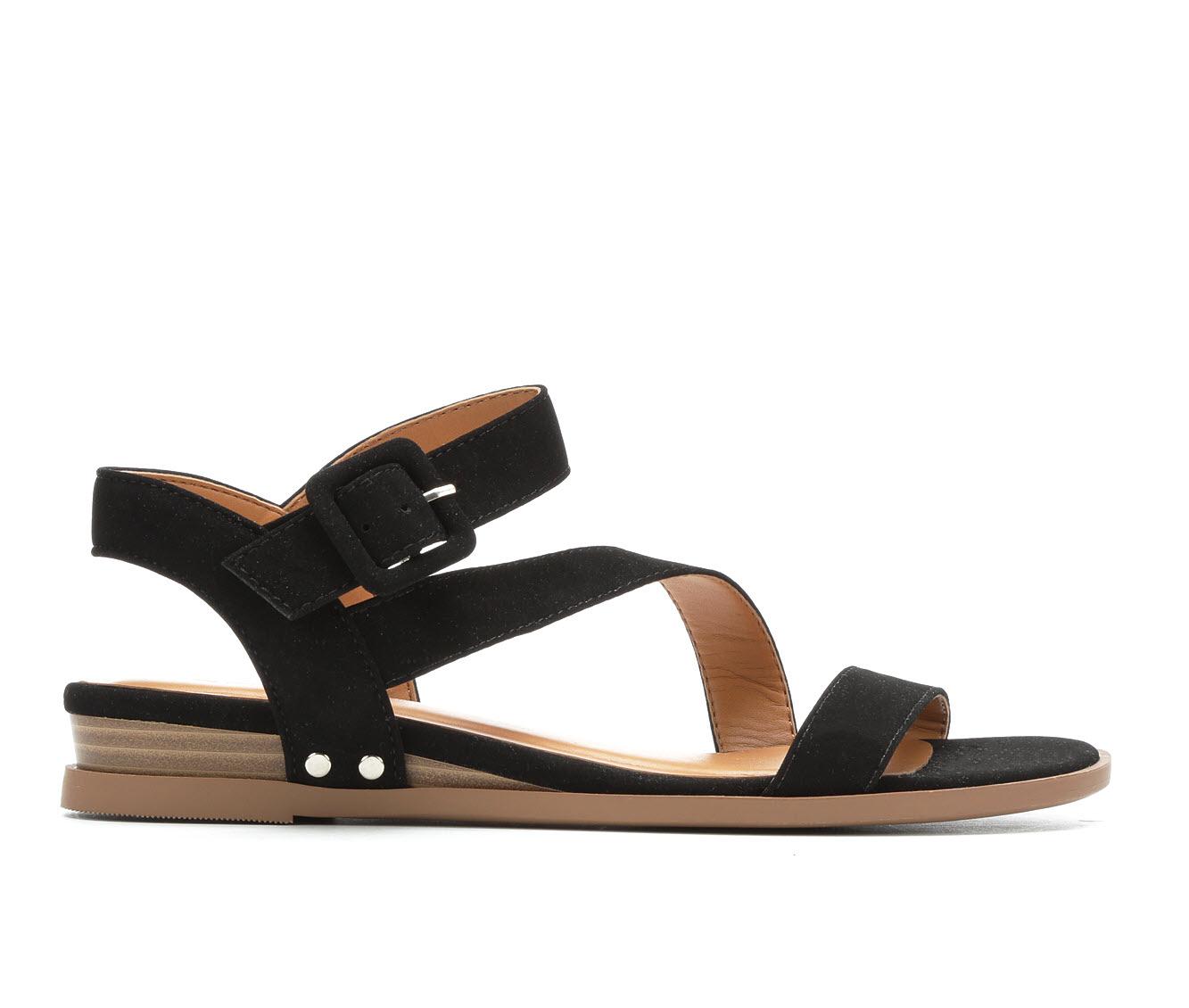 Solanz Sydney Women's Sandal (Black Faux Leather)