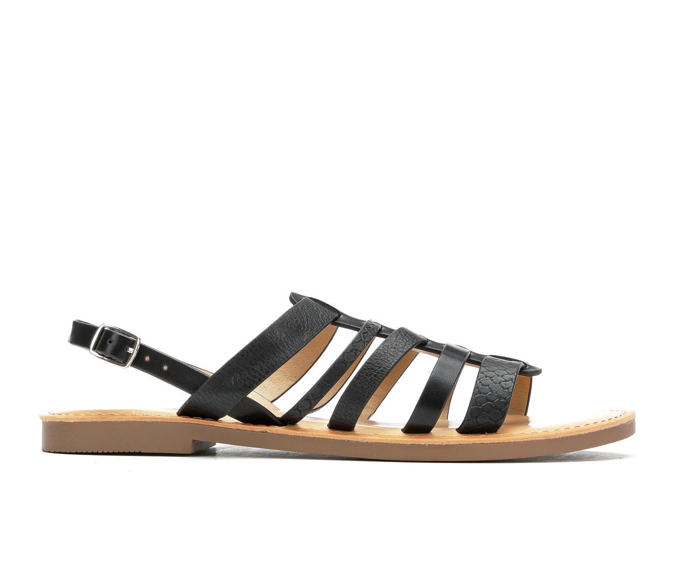 Unr8ed Brownch Women's Sandal (Black Faux Leather)