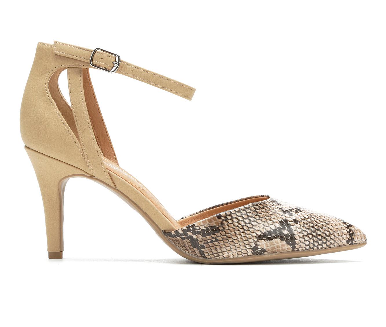 Solanz Alina Women's Dress Shoe (Beige Faux Leather)